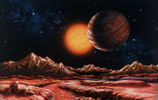 Artwork of planet Gliese 876b and star from a moon
