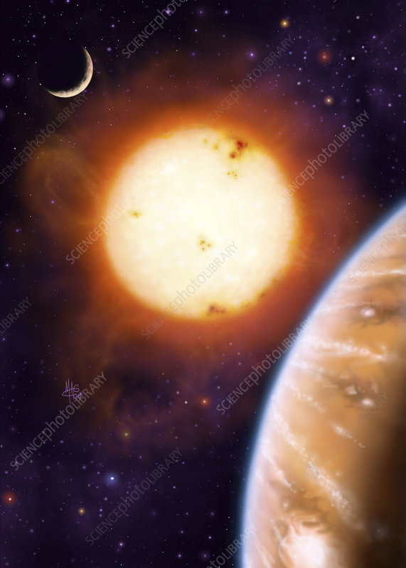 Art of gas giant planet with star