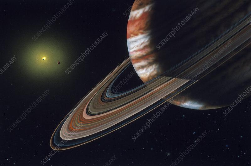 Artwork of Upsilon Andromedae planetary system