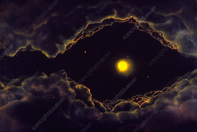 Artwork of an alien solar system in a dust cloud