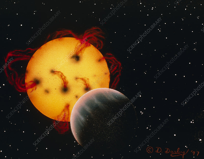 Artwork of a planet around the star 51 Pegasi