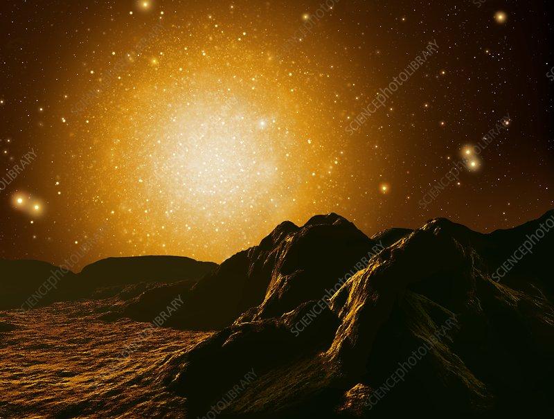 Globular cluster in night sky