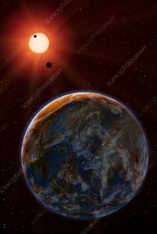Extrasolar planet Gliese 581c - Stock Image R650/0289 ...