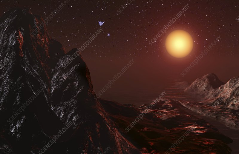 Red giant seen from a planet, artwork