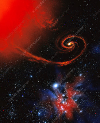 Binary star system containing black hole