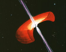 Artwork showing a mechanism for gamma-ray bursts