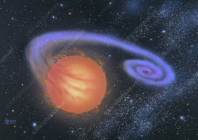 Artork of a binary star system with a black hole