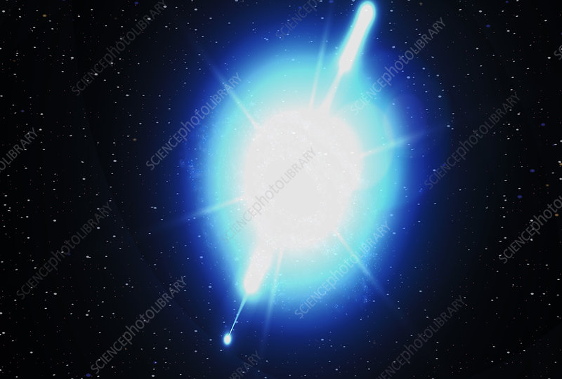 Computer artwork of a gamma ray burst