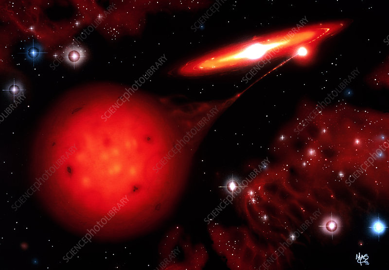 Artwork of a cataclysmic variable binary star