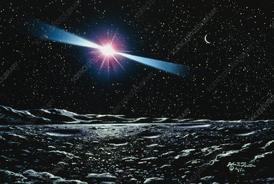 Artwork of pulsar over planet
