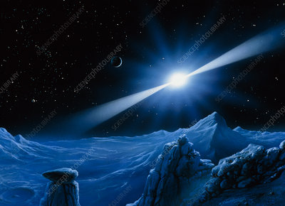 Artwork of pulsar over a planet
