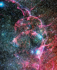 Optical image of the Vela supernova remnant
