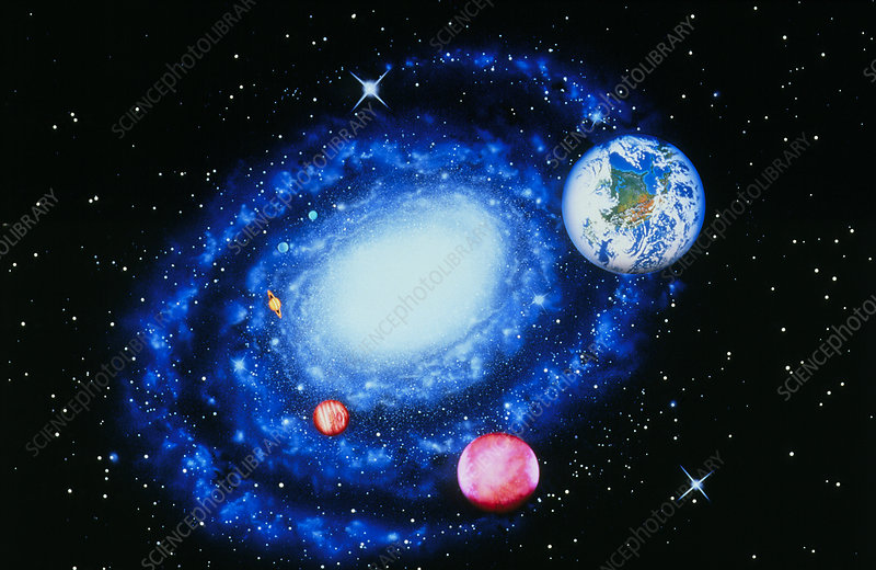 Milky way galaxy with Earth & planets superimposed