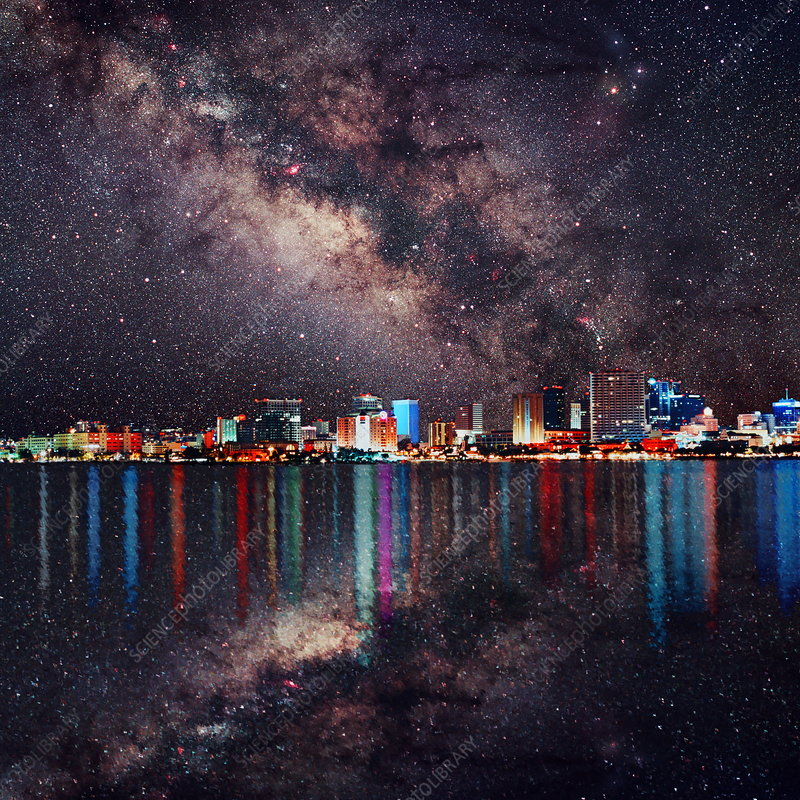 Milky Way over a city