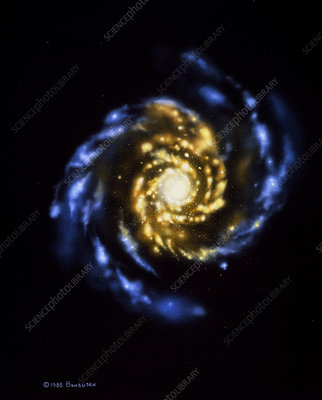 Illustration showing a normal spiral galaxy
