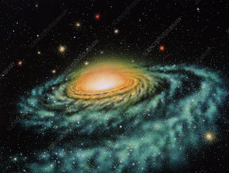 Spiral galaxy with orbiting globular clusters