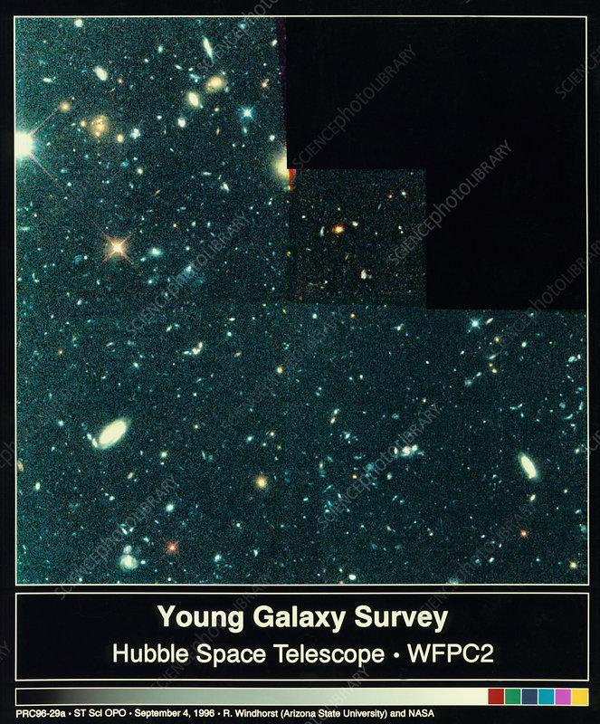 Young galaxies seen in part of Hubble deep Field