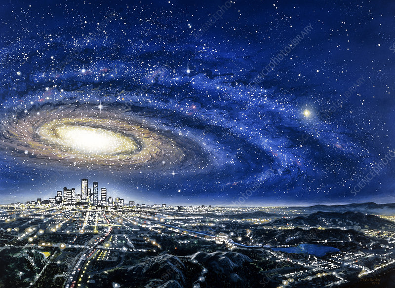 Abstract artwork of a spiral galaxy over a city