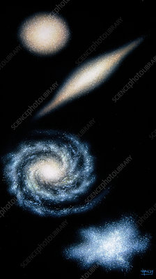 Artwork of four common types of galaxy