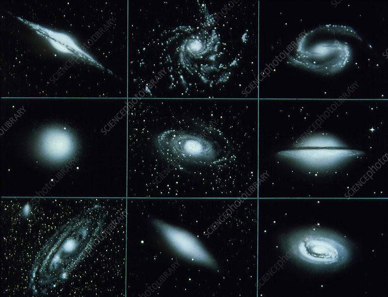 Artwork of nine types of galaxy