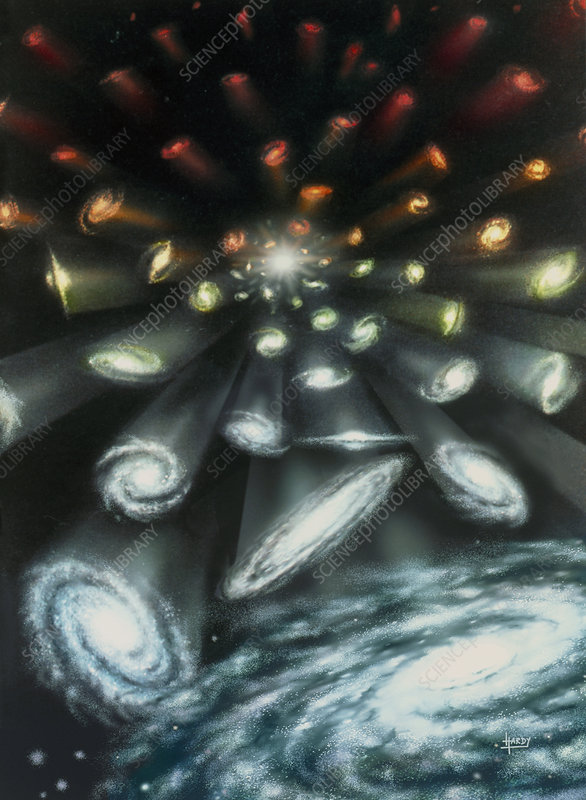Artwork showing galaxies expanding from Big Bang
