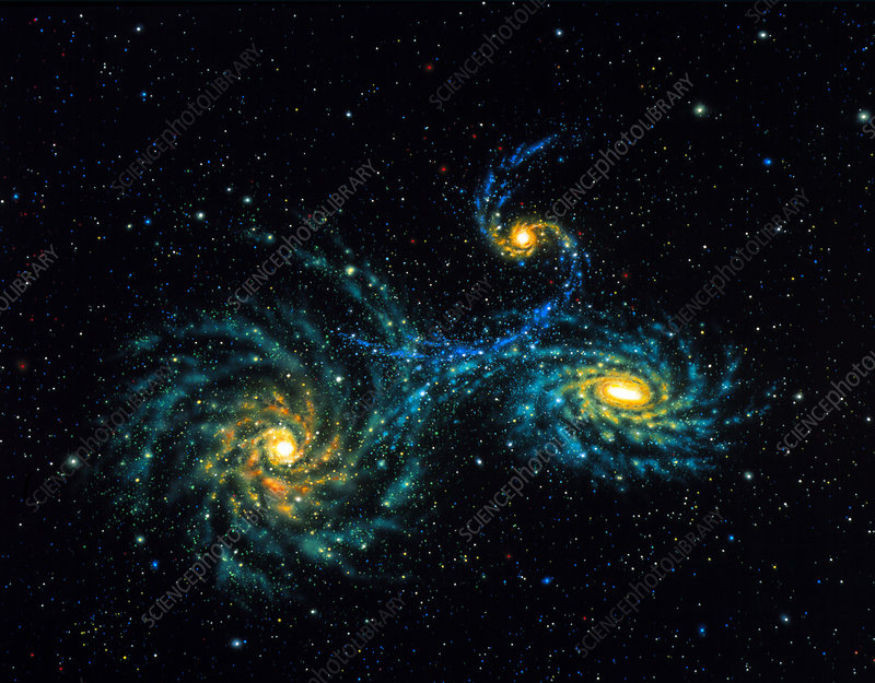 Illustration of interacting galaxies