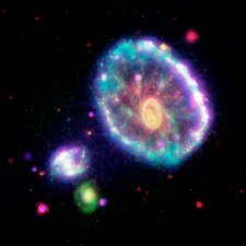 Cartwheel galaxy, multi-wavelength image