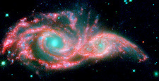 Colliding galaxies, infrared composite