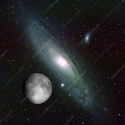 Galaxy and Moon