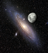 Andromeda galaxy (M31) and Earth's moon