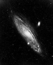 Optical photo of Andromeda galaxy & its satellites