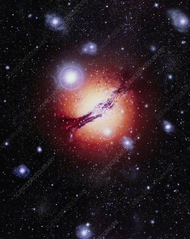 Artwork showing active galaxy Centaurus A