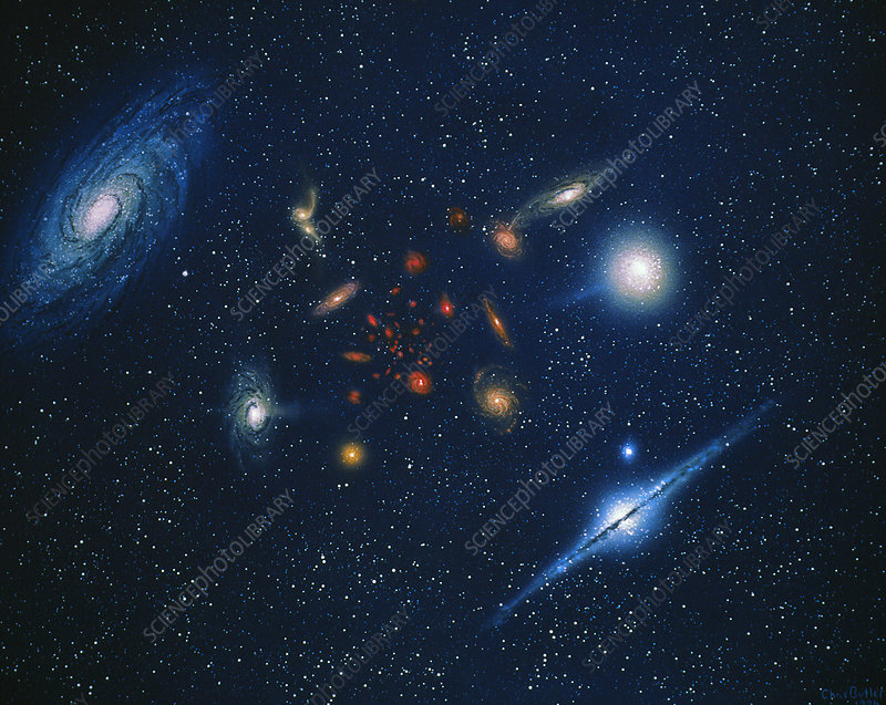Artwork of galaxies showing red shift