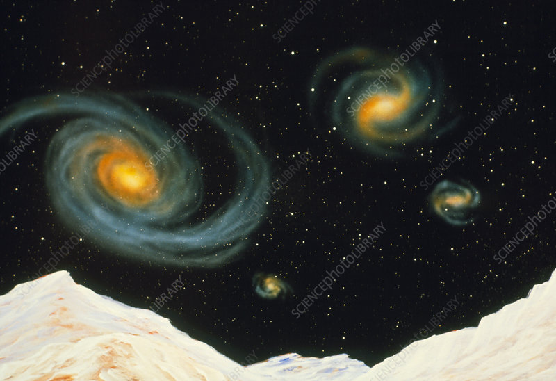Artwork of Virgo Cluster galaxies from planet