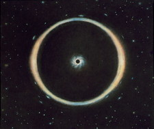 Artwork of Einstein ring due to black hole lensing