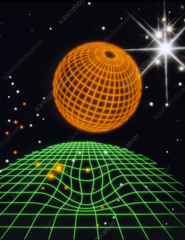 Artwork illustrating the concept of warped space