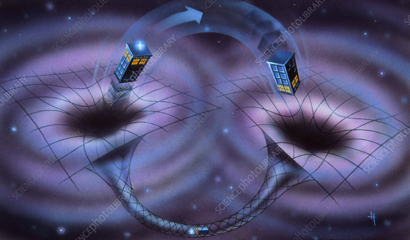Artwork of time travel through a wormhole