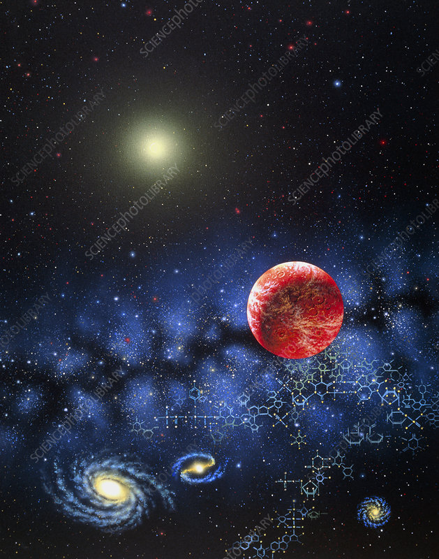 Illustration of the galactic origin of life