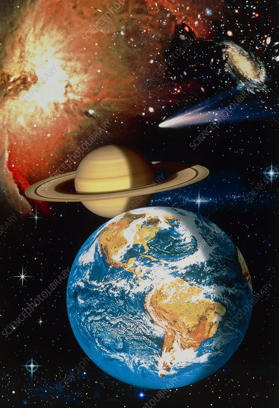 Artwork depicting universe: Earth, Saturn, Nebula