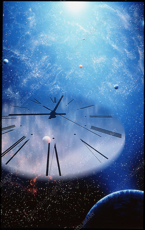 Conceptual artwork of a clock face in the universe