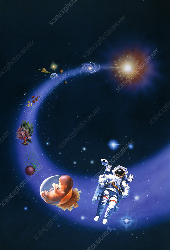 Artwork depicting the big bang & origin of life