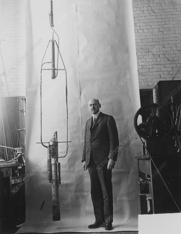 Robert Goddard with his rocket