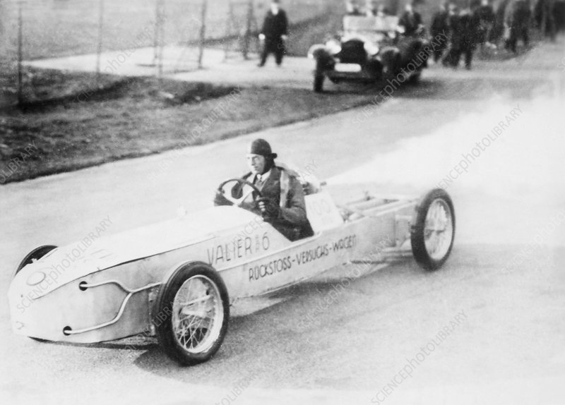 Max Valier driving a rocket car, 1930