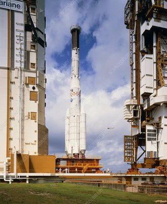 View of the first Ariane 4 rocket during roll-out