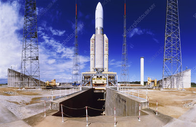 Ariane 5 engineering test vehicle on launch pad