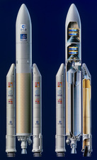 Overall view and cut-away of the Ariane 5 launcher