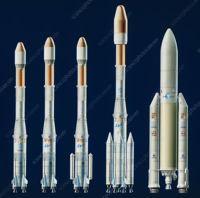 Artwork showing the Ariane series of launchers