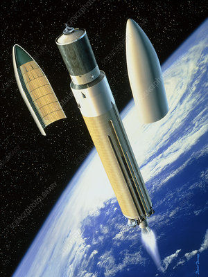 Artwork of an Ariane 5 rocket deploying a payload