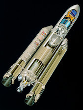 Artwork of the Ariane 5 launcher with 2 satellites
