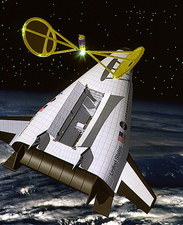 Artwork of the VentureStar reusable launch vehicle